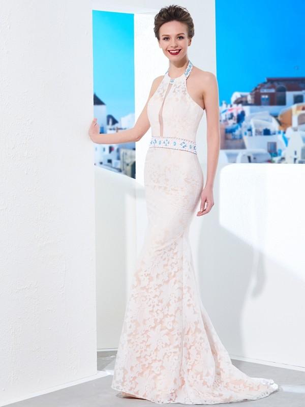 Floor-Length Sheath/Column Halter Sleeveless Lace Lace Dresses