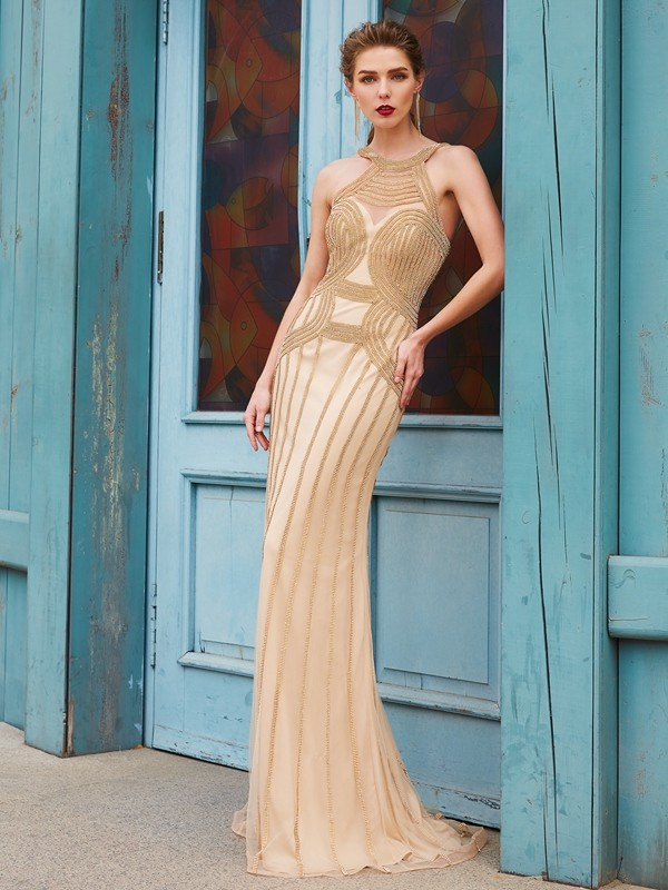 Sweep/Brush Train Sheath/Column High Neck Sleeveless Beading Net Dresses