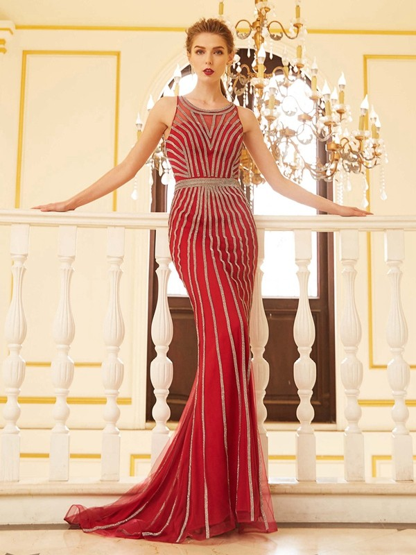 Sweep/Brush Train Sheath/Column Scoop Sleeveless Beading Net Dresses