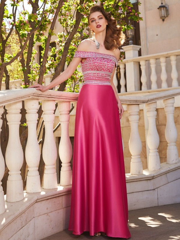 Floor-Length A-Line/Princess Off-the-Shoulder Sleeveless Beading Satin Dresses