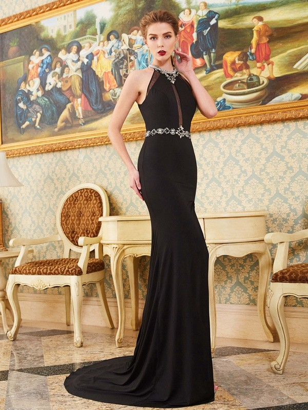 Sweep/Brush Train Sheath/Column High Neck Sleeveless Beading Spandex Dresses