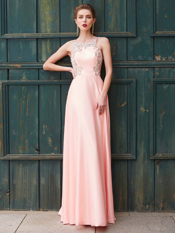 Floor-Length A-Line/Princess Scoop Sleeveless Beading Satin Dresses