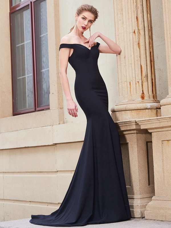 Sweep/Brush Train Trumpet/Mermaid Off-the-Shoulder Sleeveless Ruffles Satin Dresses