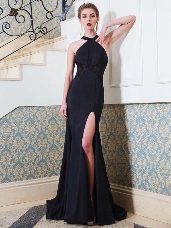 61f2497868 Sweep/Brush Train Sheath/Column Jewel Sleeveless Beading Elastic Woven Satin  Dresses