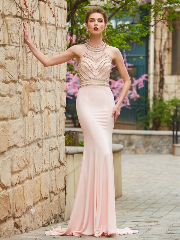 Sweep/Brush Train Sheath/Column Scoop Sleeveless Beading Spandex Dresses