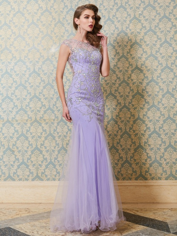 Floor-Length Trumpet/Mermaid Scoop Sleeveless Beading Tulle Dresses