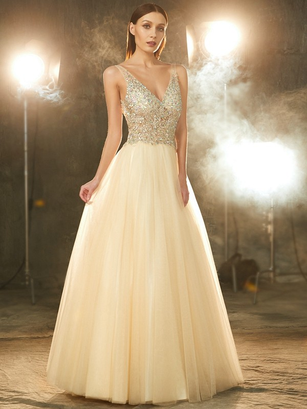 Floor-Length Ball Gown V-neck Sleeveless Beading Tulle Dresses