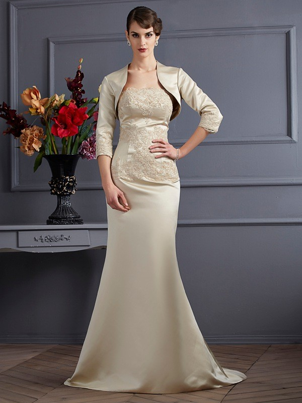 Stylish Satin Applique 3/4 Sleeves Special Occasion Wrap