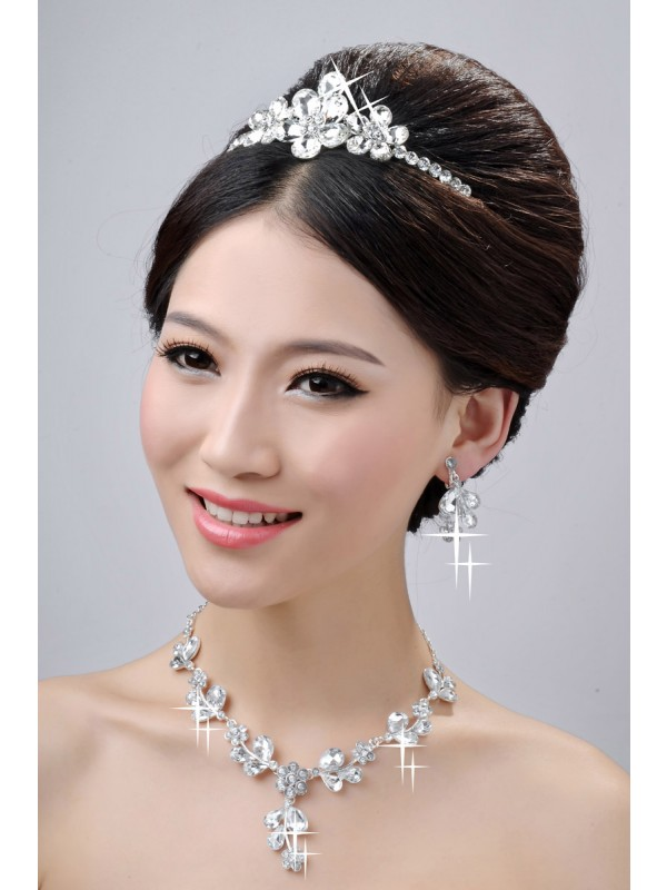 Gorgeous Awesome Alloy Clear Crystals Flower Wedding Headpieces Necklaces Earrings Set