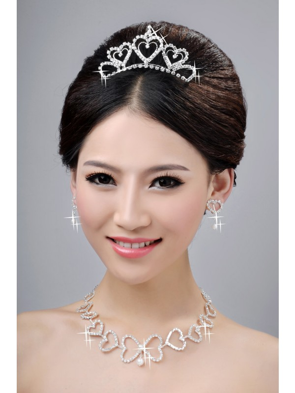 Gorgeous Awesome Alloy Clear Crystals Hearts Wedding Headpieces Necklaces Earrings Set