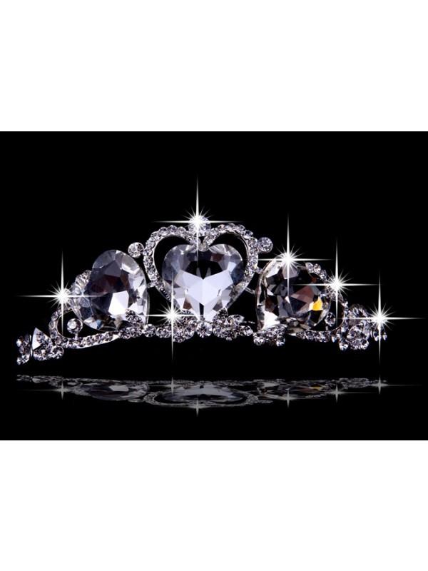 Beautiful Alloy With Czech Rhinestones Hearts Wedding Headpieces
