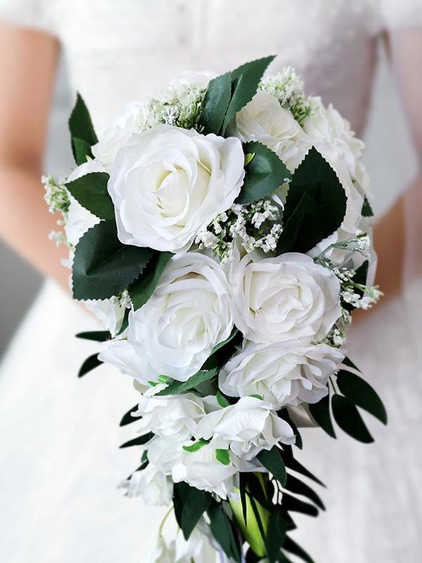 Elegant Cascade Silk Flower Bridal Bouquets