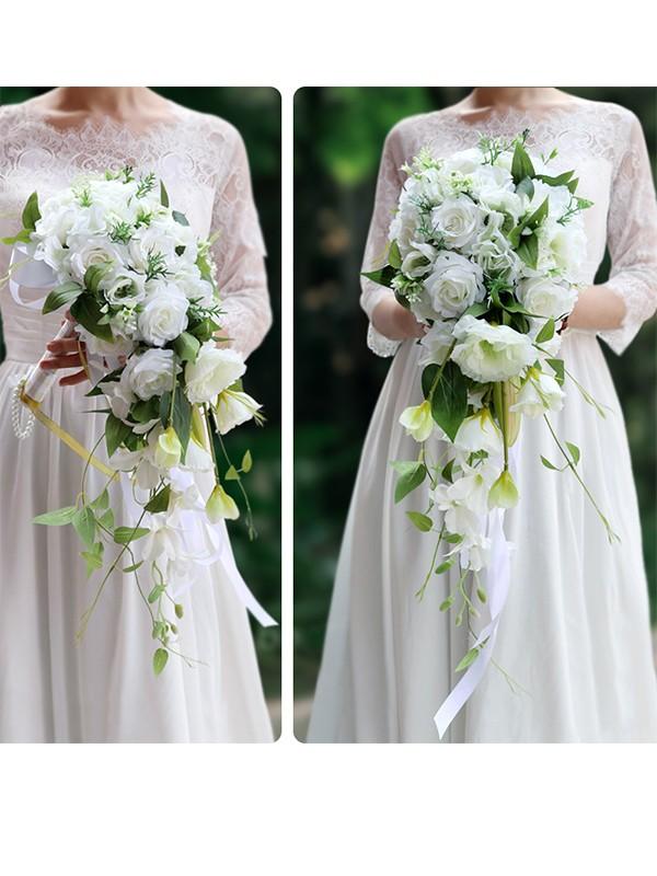 Pure Cascade Silk Flower Bridal Bouquets