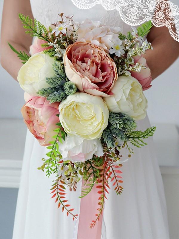 Pretty Cascade Silk Flower Bridal Bouquets