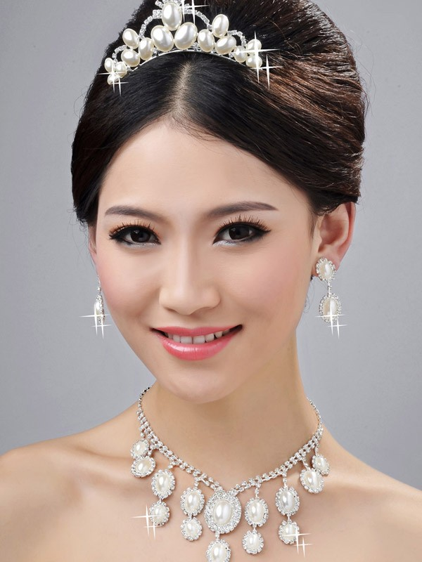 Gorgeous Bright Wedding Headpieces Necklaces Earrings Set