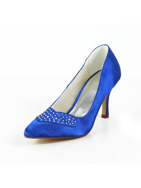 The Most Trendy Women's Charming Satin Stiletto Heel Closed Toe High Heels With Rhinestone
