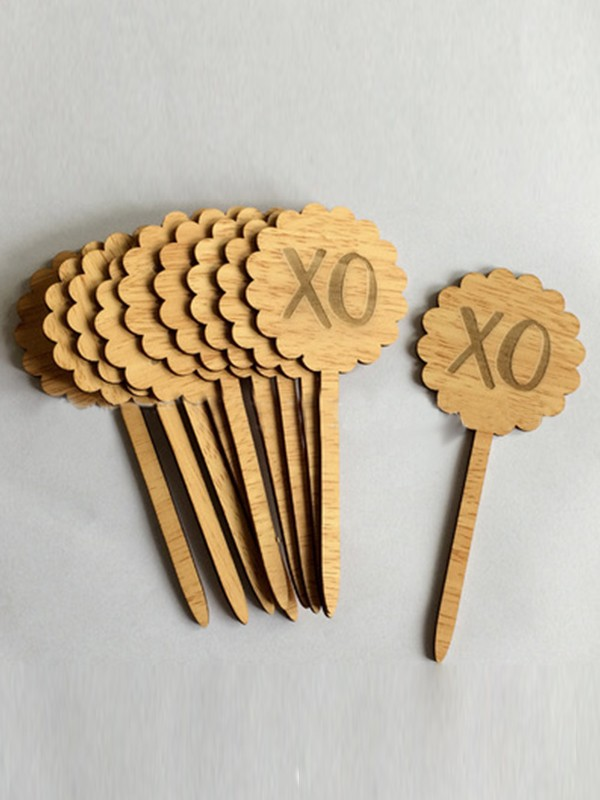 Cute Wooden Cake Topper(10 Pieces)