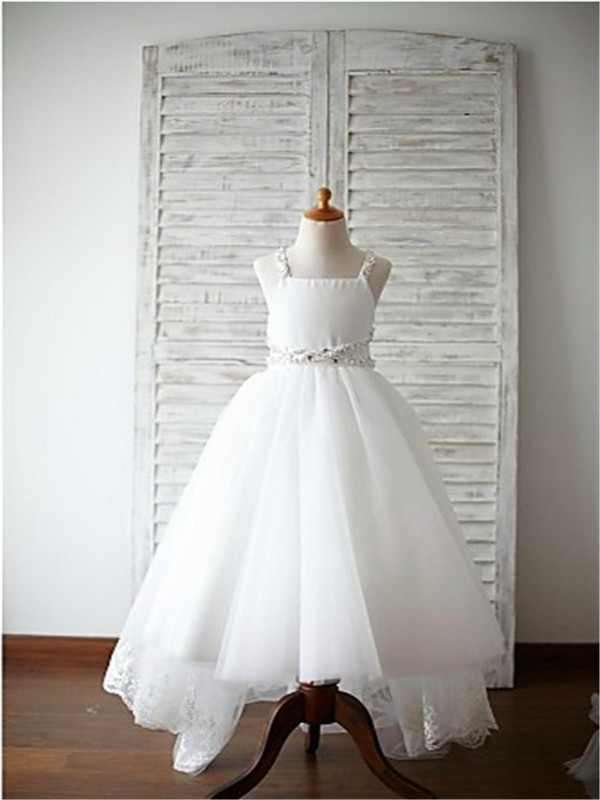 A-line/Princess Spaghetti Straps Sleeveless Beading Sweep/Brush Train Organza Flower Girl Dresses