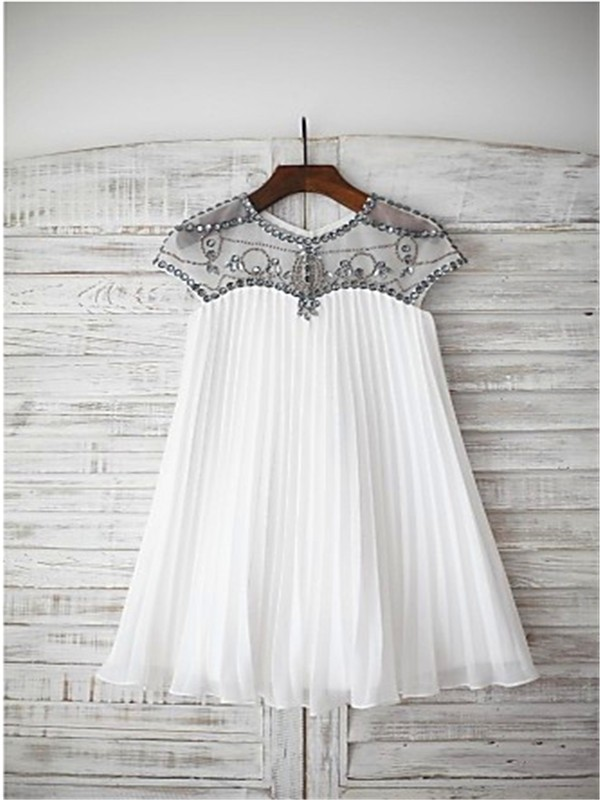 A-line/Princess Scoop Short Sleeves Beading Floor-Length Chiffon Flower Girl Dresses