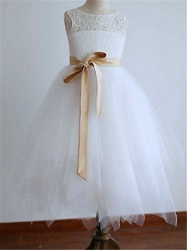 Ankle-Length A-Line/Princess Scoop Sleeveless Sash/Ribbon/Belt Tulle Flower Girl Dresses