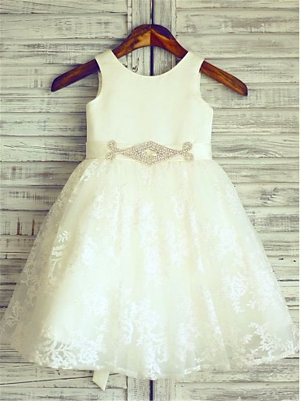 Knee-Length A-Line/Princess Scoop Sleeveless Sash/Ribbon/Belt Lace Flower Girl Dresses