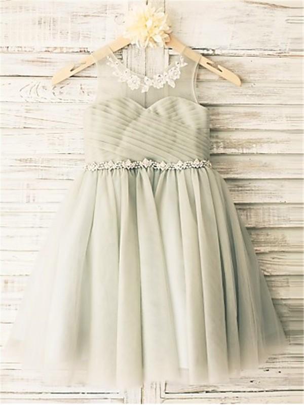 Tea-Length A-Line/Princess Scoop Sleeveless Beading Tulle Flower Girl Dresses