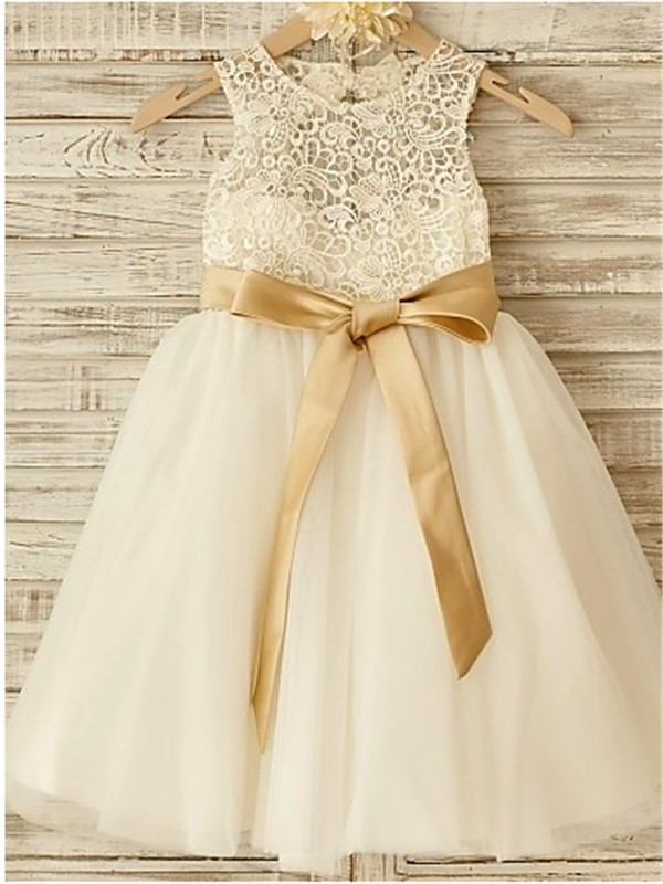 Knee-Length A-Line/Princess Scoop Sleeveless Bowknot Tulle Flower Girl Dresses
