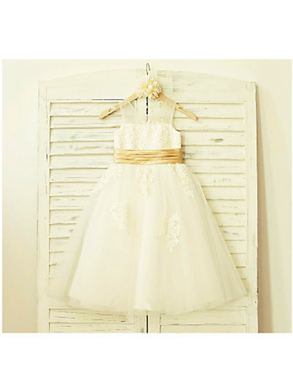 Tea-Length A-Line/Princess Scoop Sleeveless Lace Tulle Flower Girl Dresses