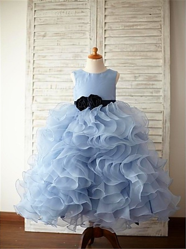 Floor-Length Ball Gown Scoop Sleeveless Ruffles Organza Flower Girl Dresses