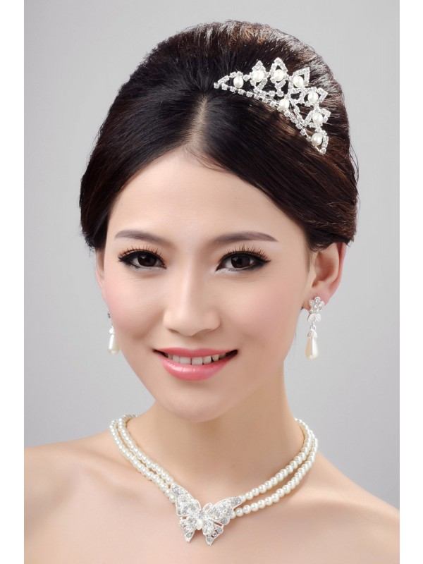 Gorgeous Elegant Alloy Clear Crystals Pearl Wedding Headpieces Necklaces Earrings Set