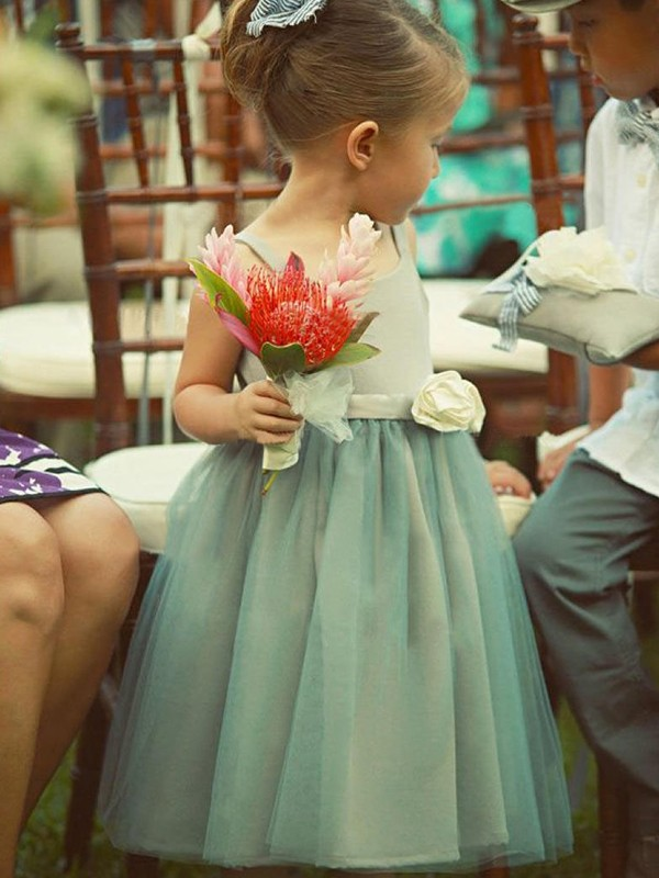 A-Line/Princess Sleeveless Square Tea-Length Hand-Made Flower Tulle Flower Girl Dresses