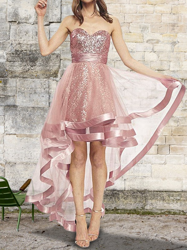 Asymmetrical A-Line/Princess Sweetheart Sleeveless Organza Dresses