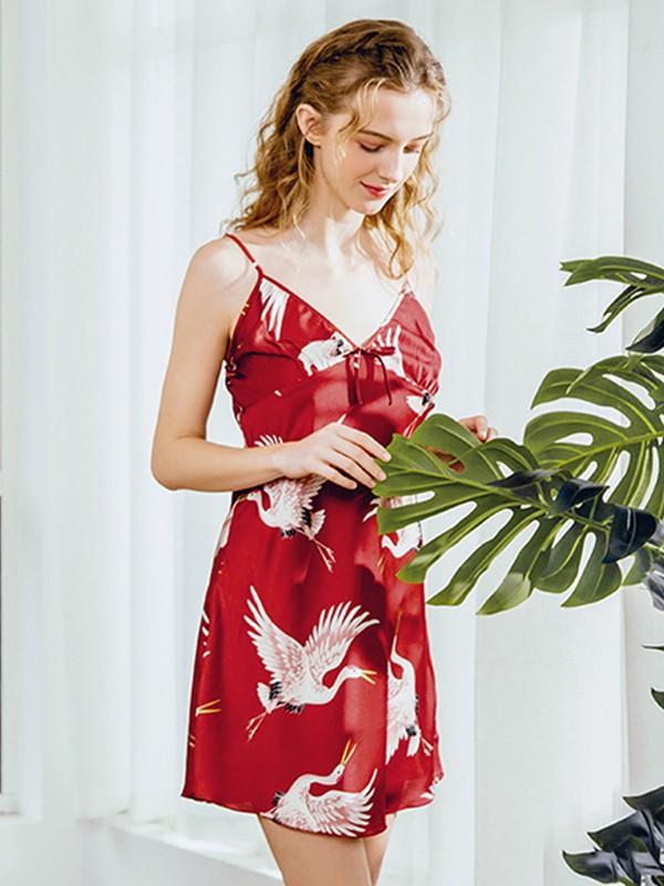 Deep V-Neck Silk like Satin Print Pajamas