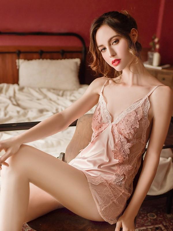 Sexy V-Neck Polyester Pajamas