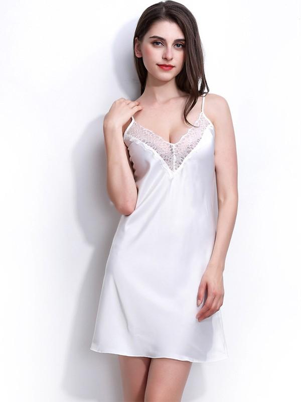Deep V-Neck Silk like Satin Lace Pajamas