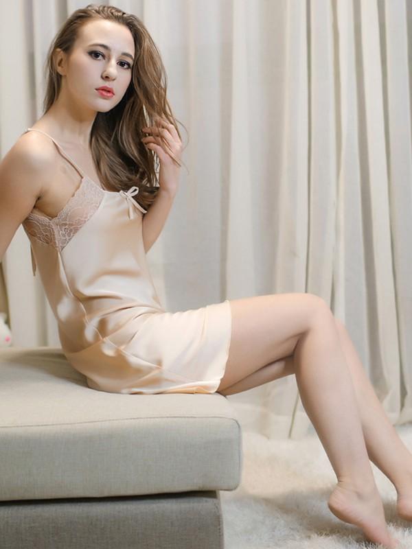 Sexy Silk like Satin Lace Pajamas