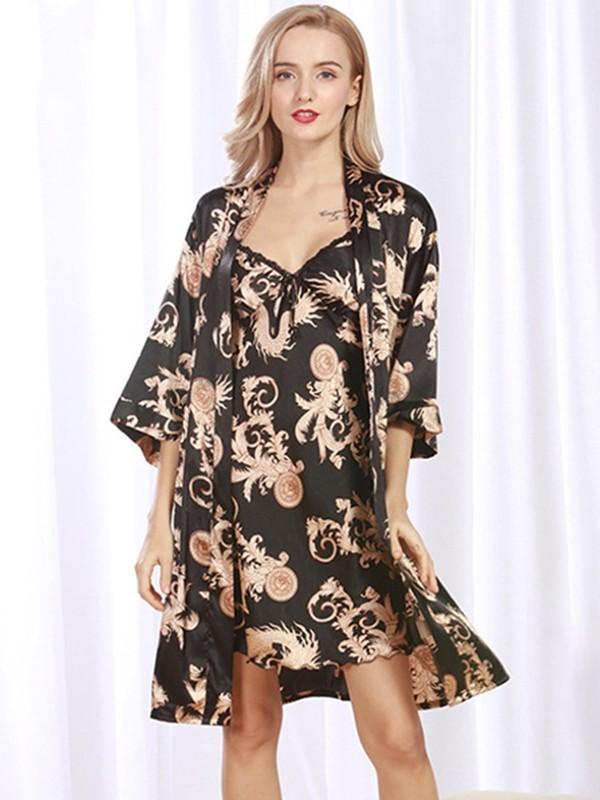 Pretty Silk like Satin Print Pajamas