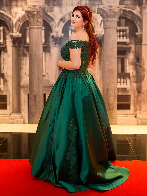 Ball Gown Lace Satin Sleeveless Sweep/Brush Train Off-the-Shoulder Dresses