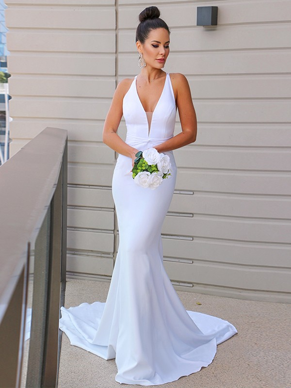 Sheath/Column V-neck Ruched Sleeveless Sweep/Brush Train Wedding Dresses