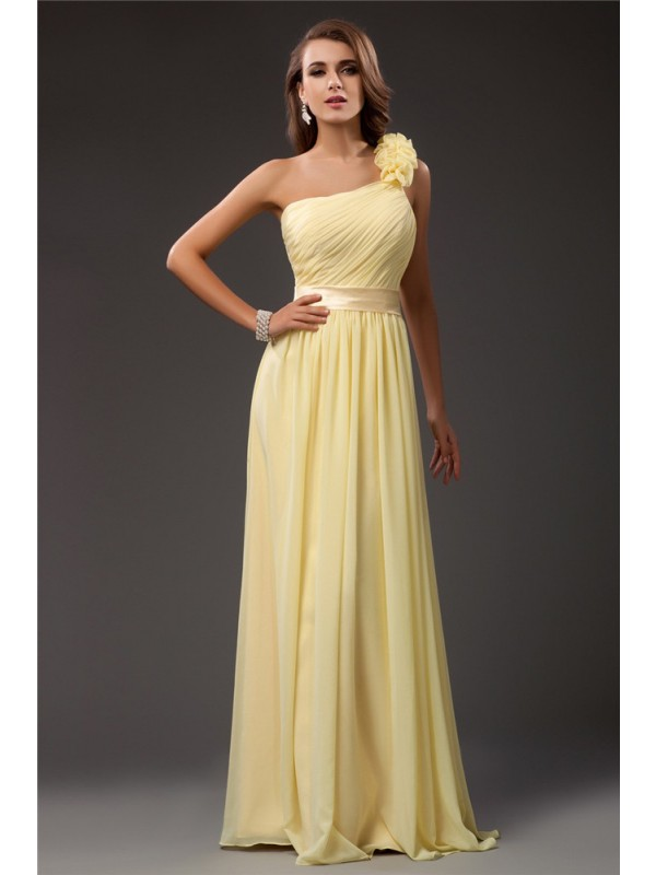 Floor-Length Sheath/Column One-Shoulder Sleeveless Ruffles Chiffon Dresses