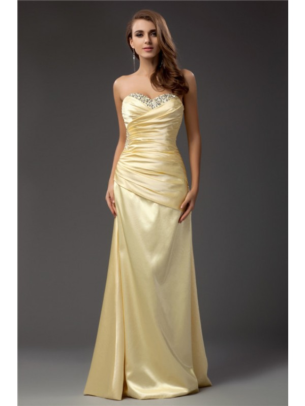 Floor-Length Sheath/Column Sweetheart Sleeveless Beading Taffeta Dresses