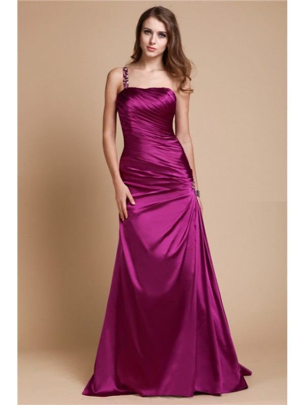 Floor-Length A-Line/Princess One-Shoulder Sleeveless Beading Elastic Woven Satin Dresses