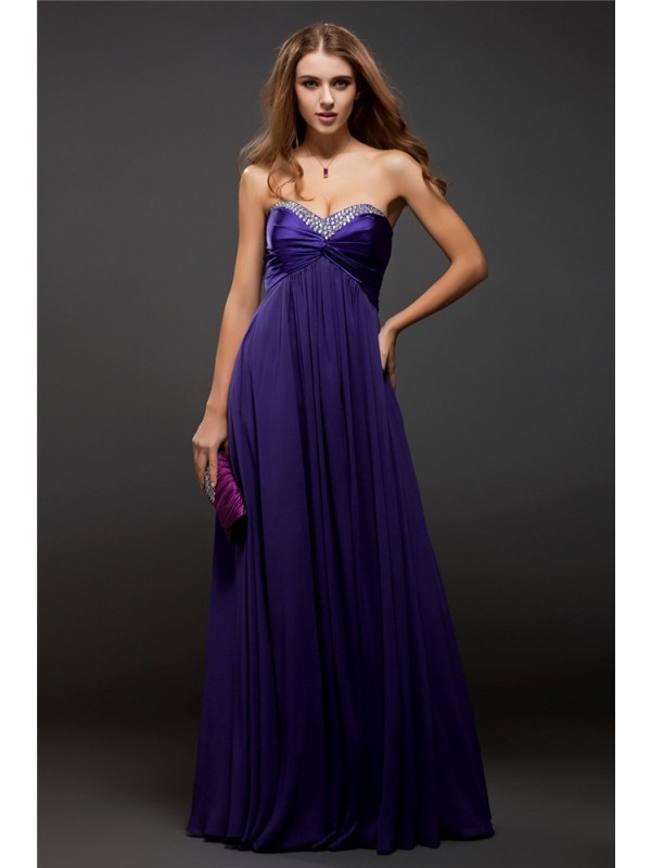 Floor-Length Sheath/Column Sweetheart Sleeveless Beading Chiffon Dresses