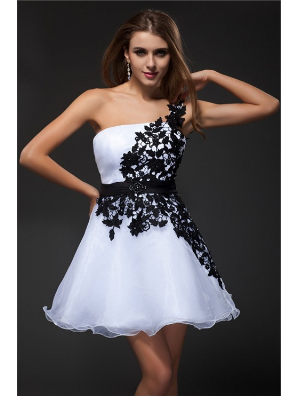 Short/Mini Empire One-Shoulder Sleeveless Applique Organza Dresses