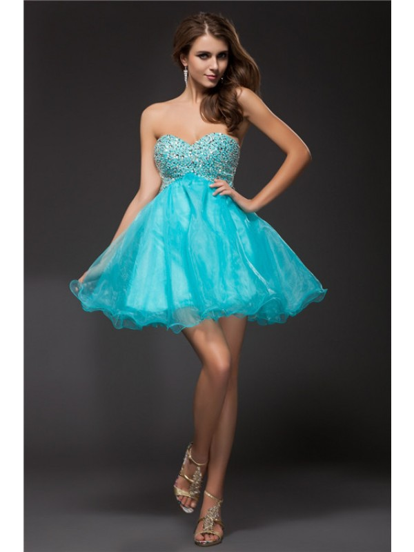 Short/Mini A-Line/Princess Sweetheart Sleeveless Beading Organza Dresses