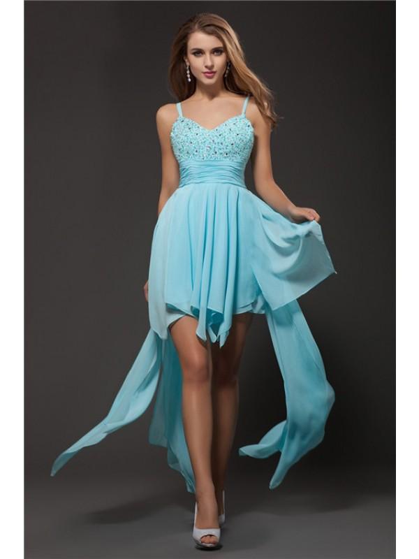Asymmetrical A-Line/Princess Spaghetti Straps Sleeveless Rhinestone Chiffon Dresses