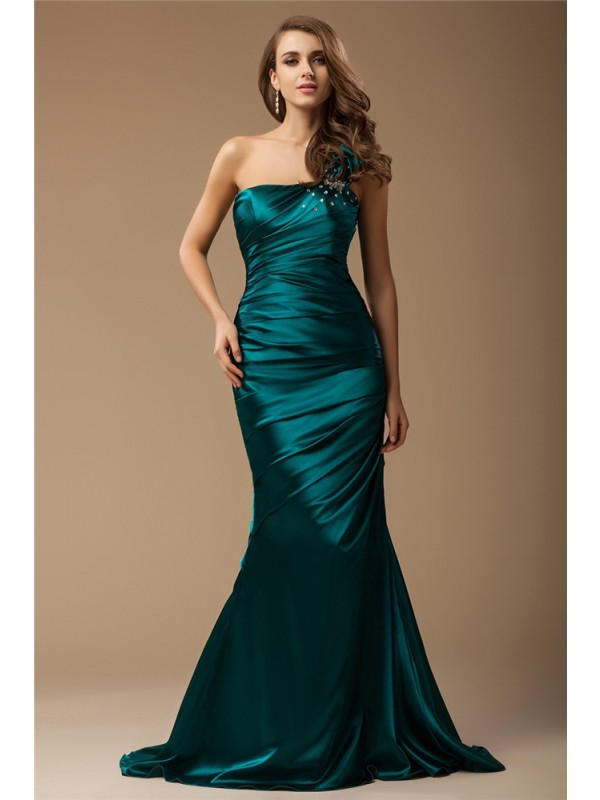 Sweep/Brush Train Trumpet/Mermaid One-Shoulder Sleeveless Ruffles Elastic Woven Satin Dresses