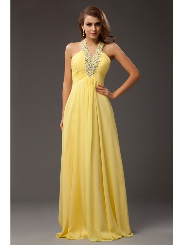 Floor-Length Sheath/Column Halter Sleeveless Beading Chiffon Dresses