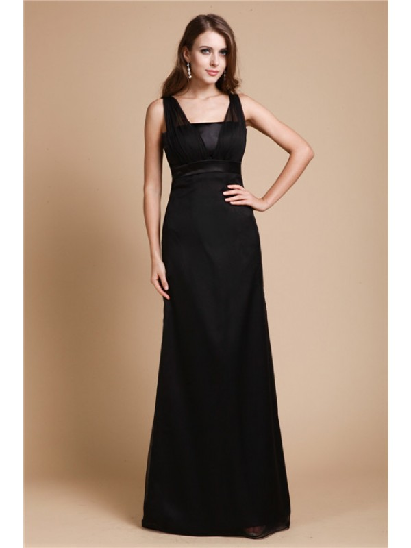 Floor-Length Sheath/Column Straps Sleeveless Sash/Ribbon/Belt Chiffon Dresses