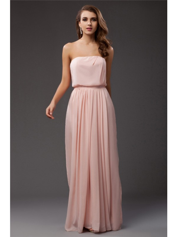 Floor-Length Sheath/Column Strapless Sleeveless Ruffles Chiffon Dresses
